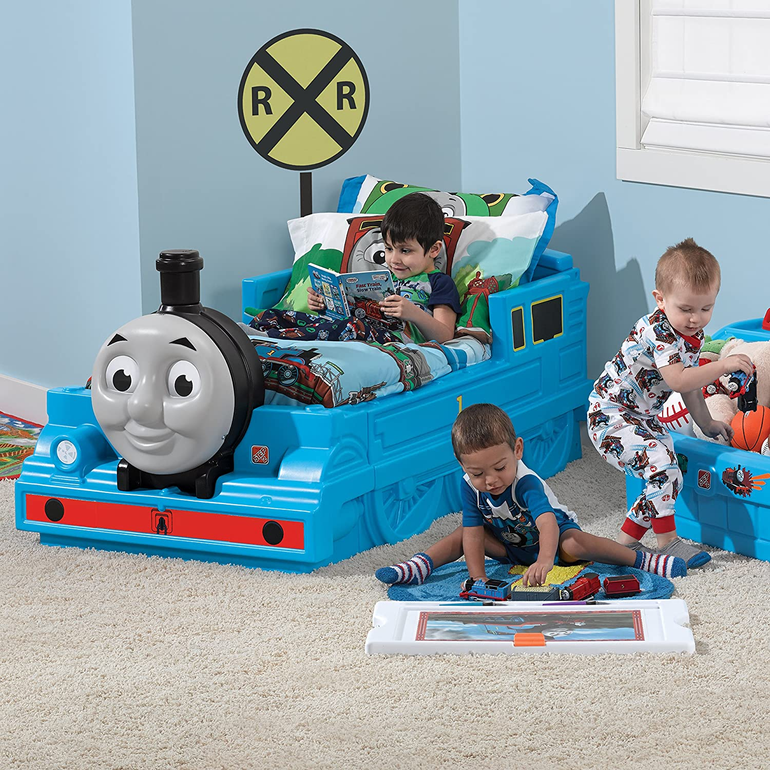 Little tikes thomas the train bed - Amazon Com Step2 Thomas The Tank Engine Toddler Bed Durable Plastic Beds For Boys Blue Toys Games