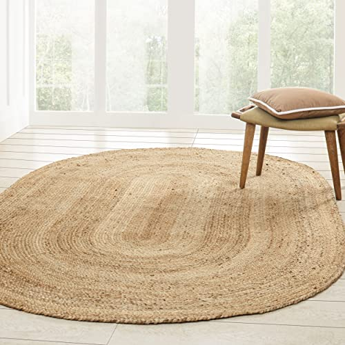 Superior Hand Woven Natural Fiber Reversible High Traffic Resistant Braided Jute Area Rug, 5 x 8 Oval