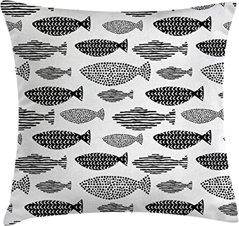 ambesonne fish throw pillow cushion cover minimalist fish with pared down dots and stripped lines sea animal image decorative square accent pillow