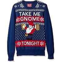 Hybrid Mens 1TATJ636 Take Me Gnome Tonight Ugly Christmas Sweater Long Sleeve Suit Vest - Blue