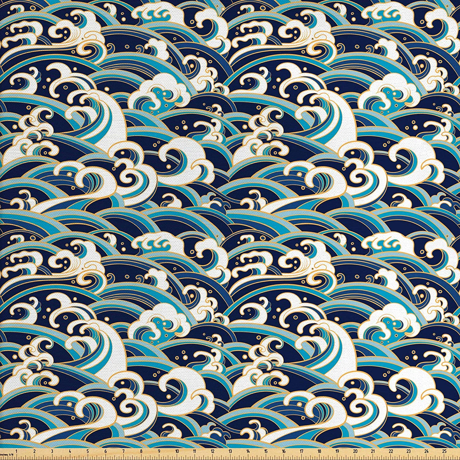 Ambesonne Nautical Fabric by The Yard, Traditional Oriental Style Ocean Waves Pattern with Foam and Splashes Print, Decorative Fabric for Upholstery and Home Accents, 1 Yard, Blue Gold