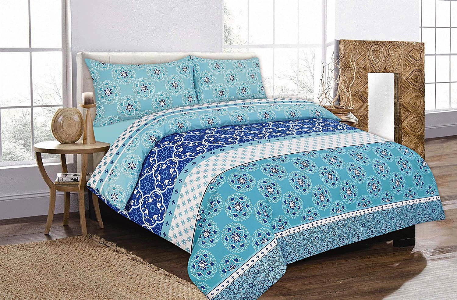 Teal Modern Duvet Cover Set with Pillow Case Quilt Cover Set Single Double King