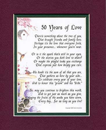 50 years of love 119 poem gift present for a 50th wedding anniversary