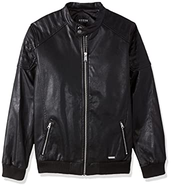 Amazon.com: GUESS Big Boys' Faux-Leather Bomber Jacket, Jet Black ...