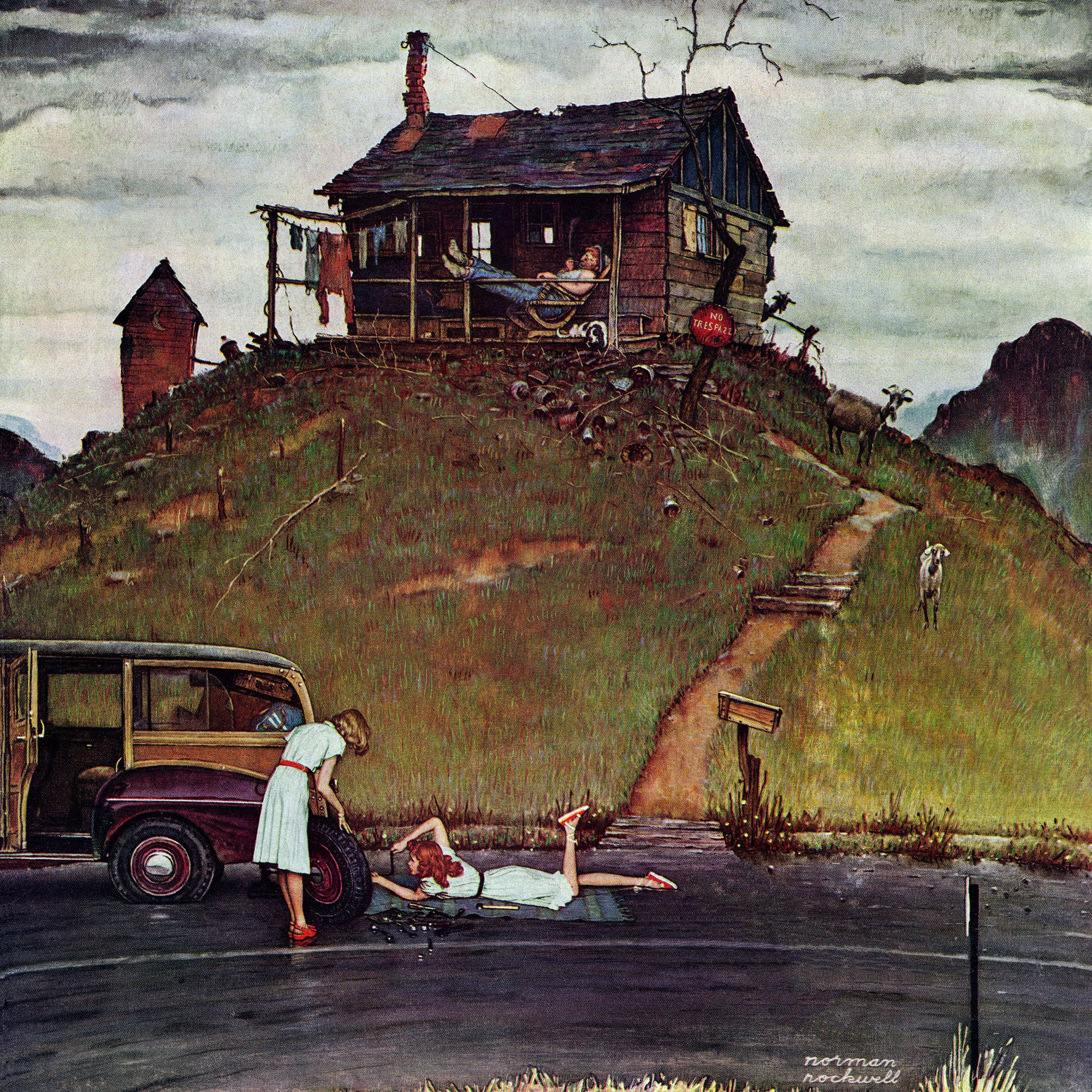 Marmont Hill Norman Rockwell Prints on Canvas ''Changing a Flat'' Art Print, 40 by 40'' by Marmont Hill