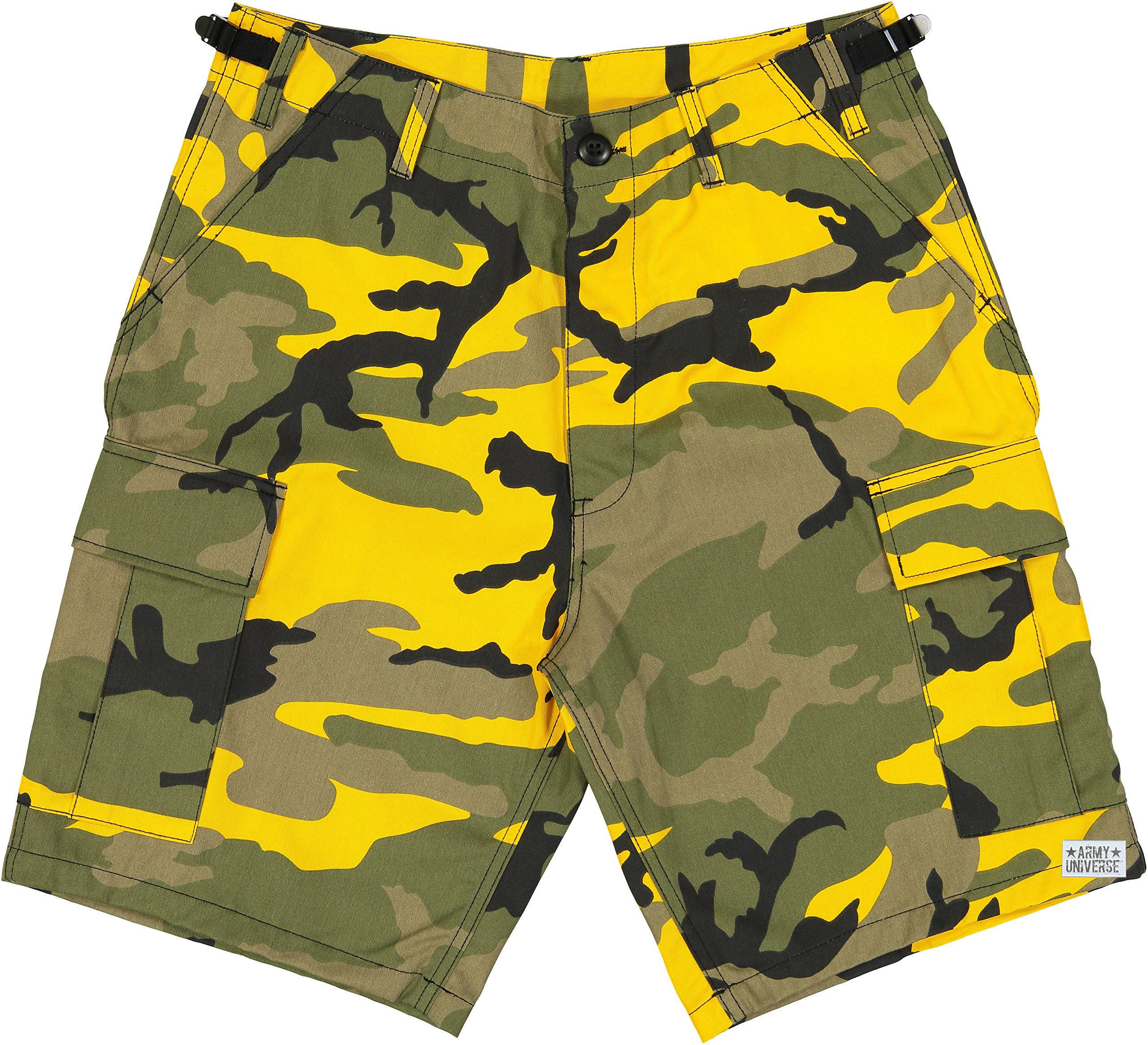 Army Universe Yellow Camouflage BDU Cargo Shorts with Pin Size Large