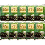 Korean Premium Roasted and Lightly Sea Salted Seasoned Seaweed & Nori Individual Snack 5g (Pack of 10)