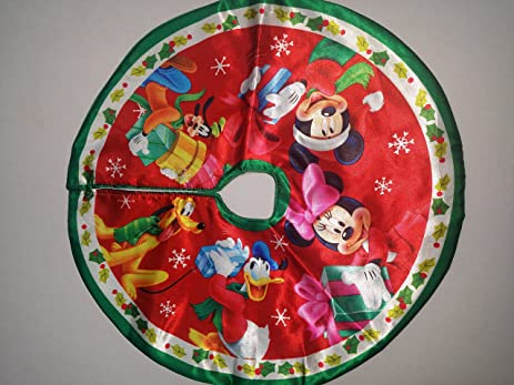 MICKEY MOUSE, MINNIE MOUSE, DONALD DUCK, PLUTO 16u0026quot; CHRISTMAS TREE SKIRT ~
