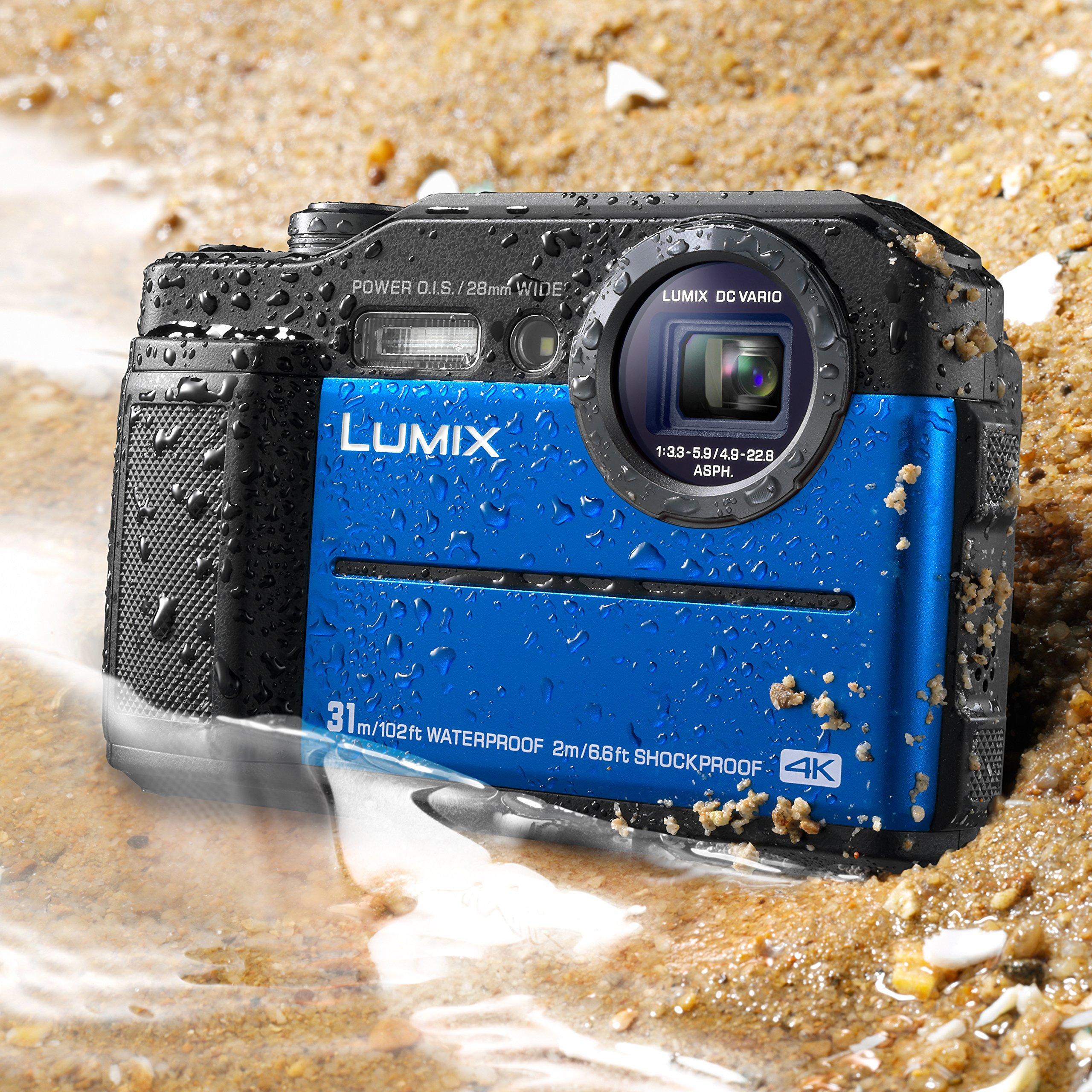 "Panasonic DC-TS7A Lumix TS7 Waterproof Tough Camera, 20.4 Megapixels, 4.6X Zoom Lens, USA, with 3"" LCD, Blue"