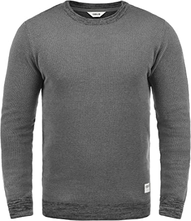 Solid Raekwans Jersey De Punto Suéter para Hombre con Cuello Redondo De 100% algodón: Amazon.es: Ropa y accesorios