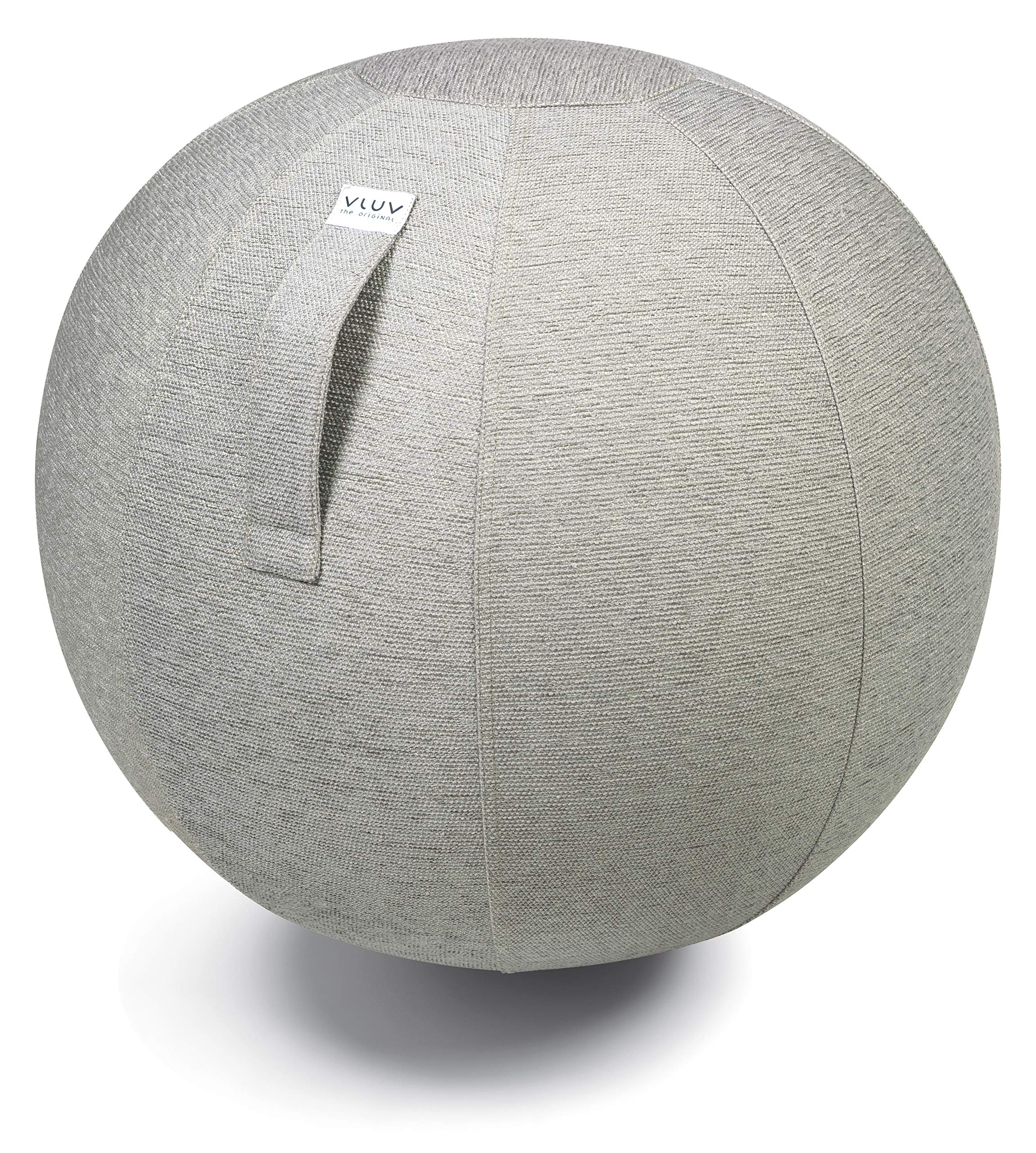 VLUV STOV Premium Quality Self-Standing Sitting Ball with Handle - Home or Office Chair and Exercise Ball for Yoga, Back Stretching, or Gym- Upholstery Fabric Stability Ball (Concrete, 25.6'') by VLUV