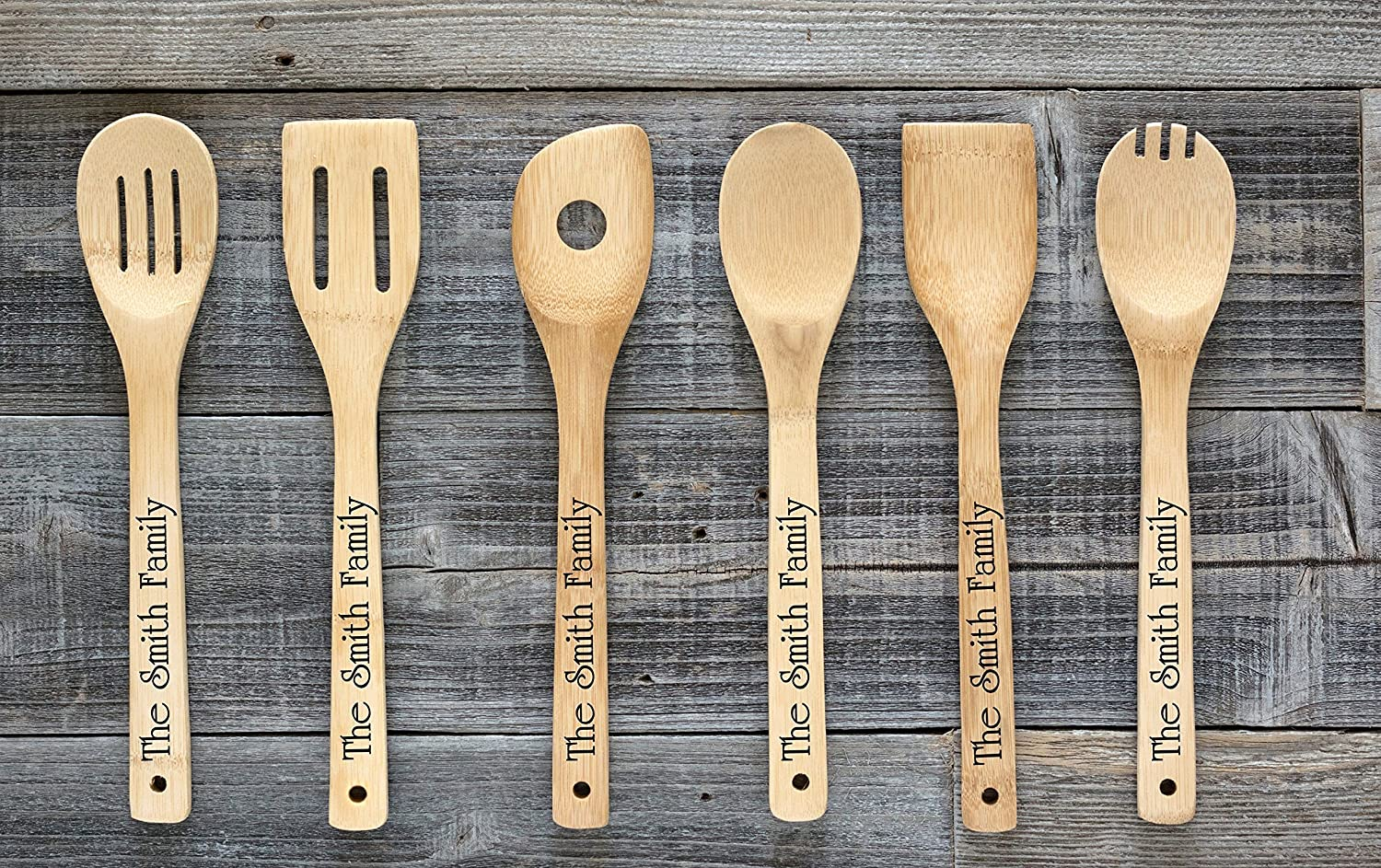 Set of 6 Personalized Utensils Engraved Utensil Set