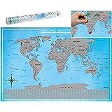 blupalu I XXL Weltkarte zum Rubbeln Silber mit Flaggen und Rubbel-Chip I Rubbel-Weltkarte zum Frei-Rubbeln I World Map Poster I 89 x 59 cm   Deutsch