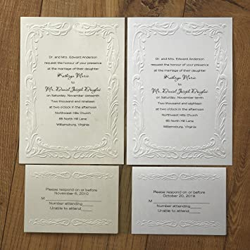 photograph about Wedding Cards Printable known as Embossed Beauty Printable Marriage Invites - Fastened of 50 - BV1005 (Ecru)