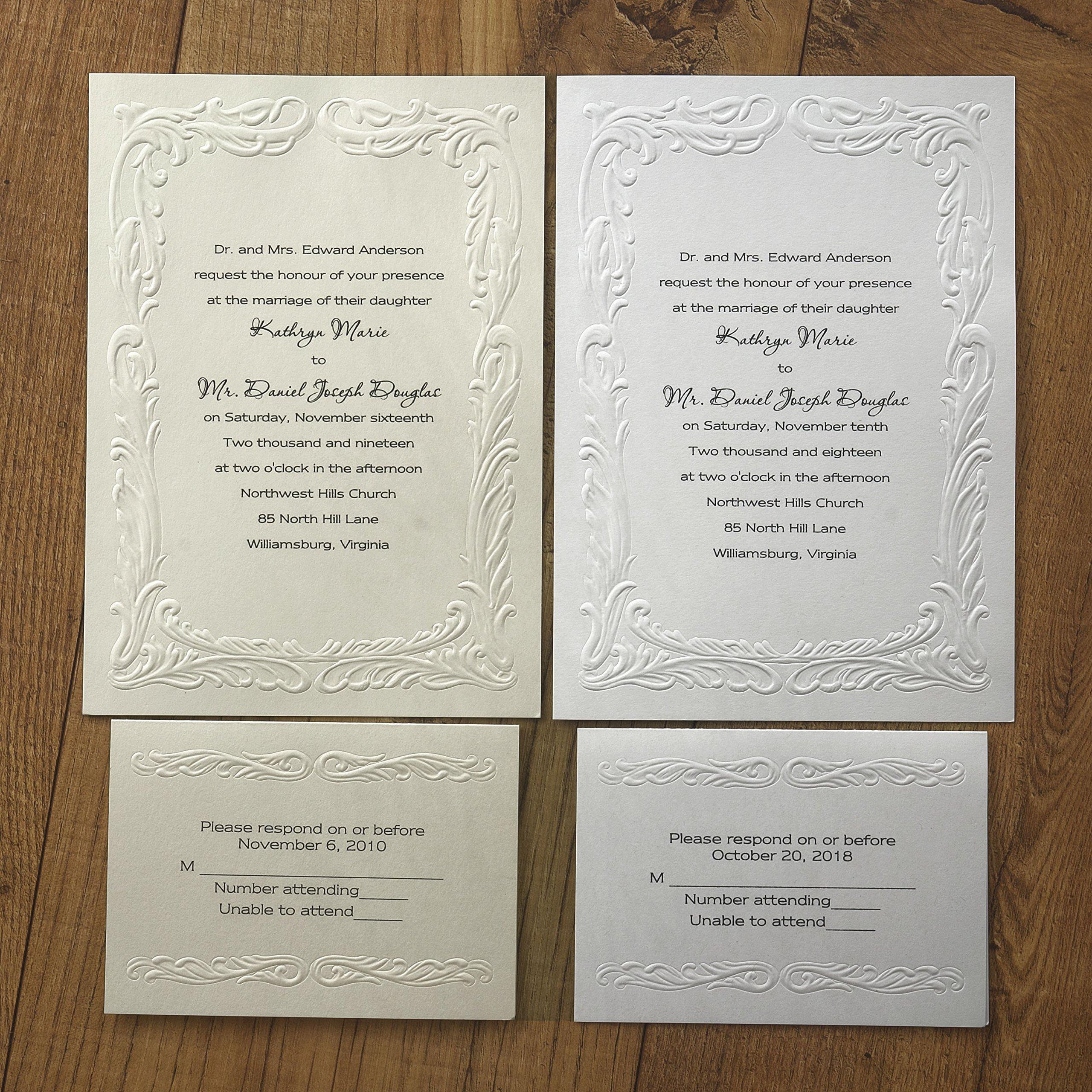 Embossed Splendor Printable Wedding Invitations - Set of 50 - BV1005 (White)