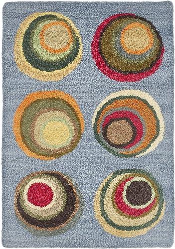 Safavieh Soho Collection SOH921B Handmade Modern Abstract Blue and Multi Premium Wool Area Rug 3 6 x 5 6