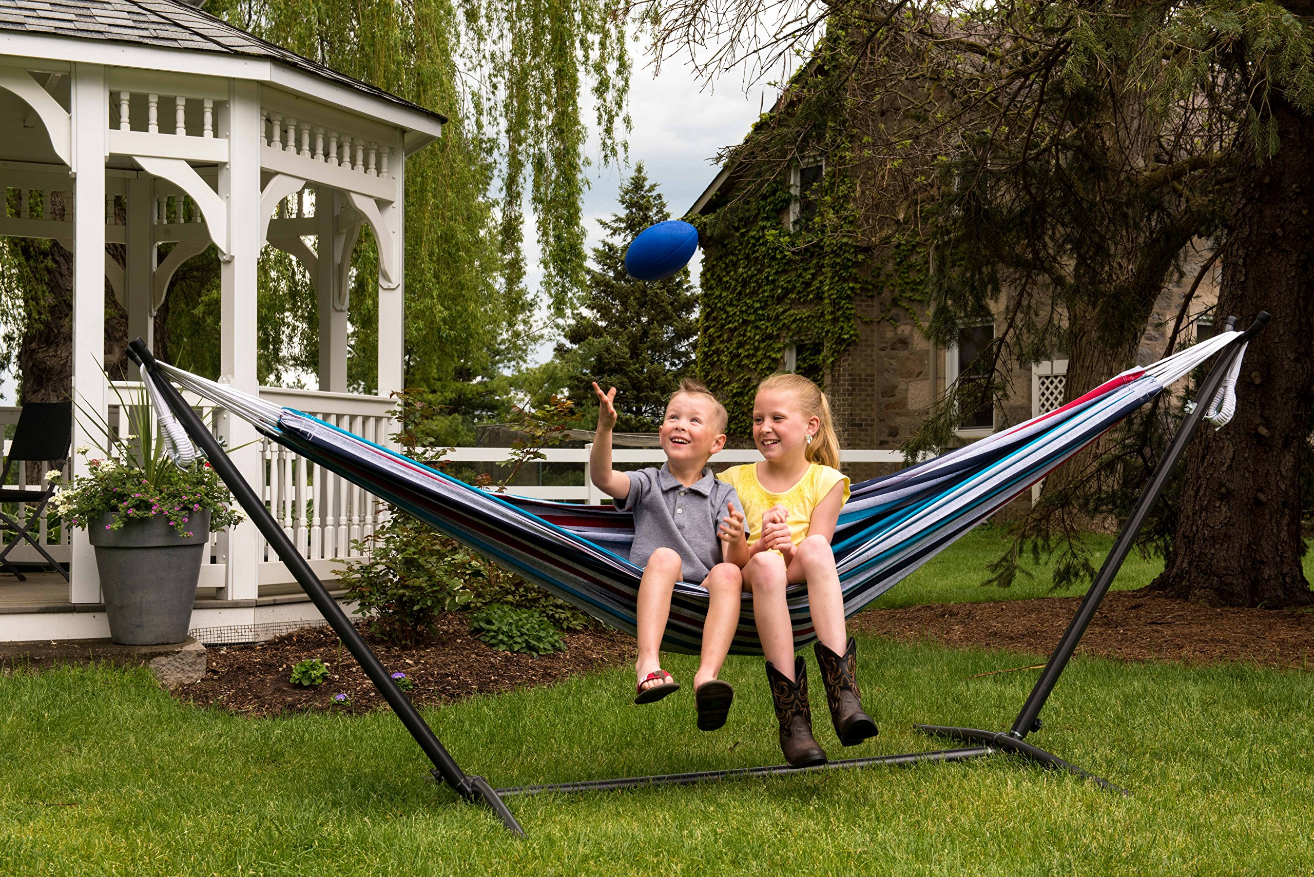 CDM product Vivere Double Hammock with 9' Steel Stand, Denim small thumbnail image
