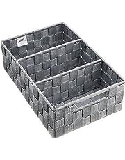 Wenko 21532100 Adria Boîte de Rangement Salle de Bain avec Poignée Gris Dimensions 32,0 x 21,0 x 10,0 cm