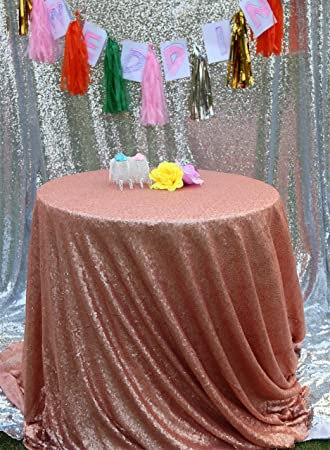 Blush 50u0026quot; Round Tablecloth Sparkly Tablecloth For Party Sparkly Sequin Table  Cloth