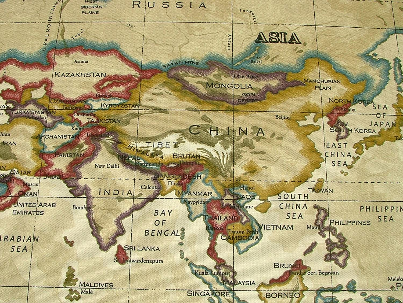 Prestigious atlas world map antique designer curtain upholstery prestigious atlas world map antique designer curtain upholstery fabric by the metre amazon kitchen home gumiabroncs Gallery