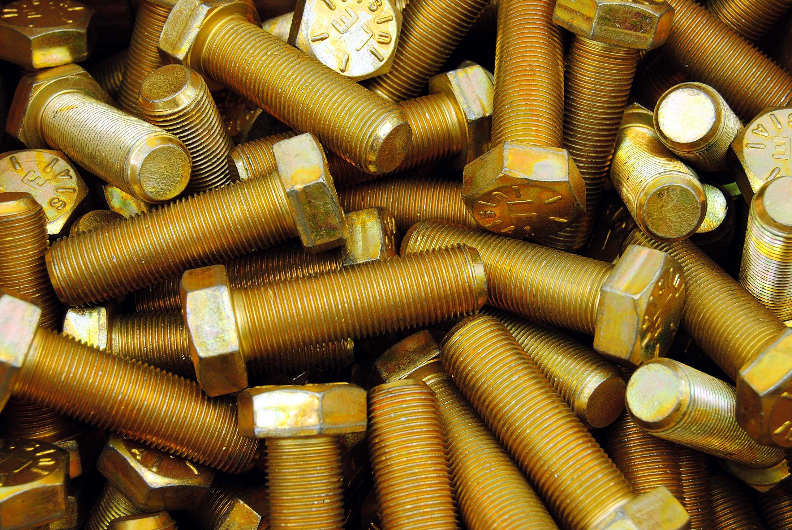 (15) Hex Head Bolts 3/4-16 x 2-1/2 Grade 8 Fine Thread Yellow Zinc USA Made by Lexar Industrial