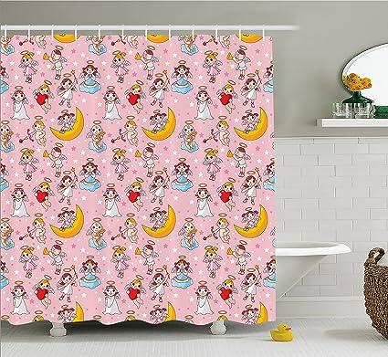 Ambesonne Angel Shower Curtain Fairies Playing Music Halo Cheerful Supernatural Creatures Nursery Theme Fabric