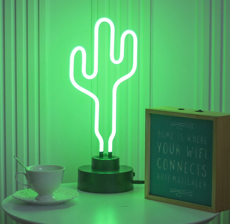 Real Glass Neon Sculpture Cactus Light Neon Sign 39cm x 17.5cm x 13.7cm Neon Lamp Half & Half