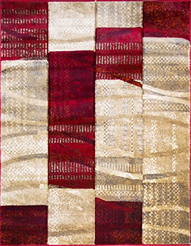 ADGO Atlantic Collection Modern Abstract Geometric Soft Pile Contemporary Carpet Thick Plush Stain Fade Resistant Easy Clean Bedroom Living Dining Room Area Rug 3 x 5 , 6247AR – Red Beige