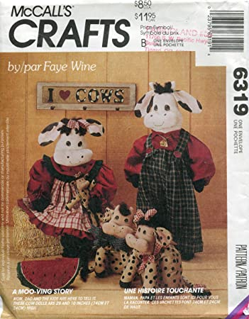 Amazon.com: McCall\'s 802 Crafts Sewing Pattern Cow Dolls Doorstop ...