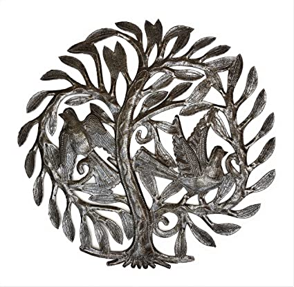 Amazon.com: Garden Tree of Life Haitian Recycled Oil Drum Wall Art ...
