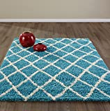 Diagona Designs Era Collection Contemporary Moroccan Trellis Design Shag Area Rug Turquoise, Blue/Ivory