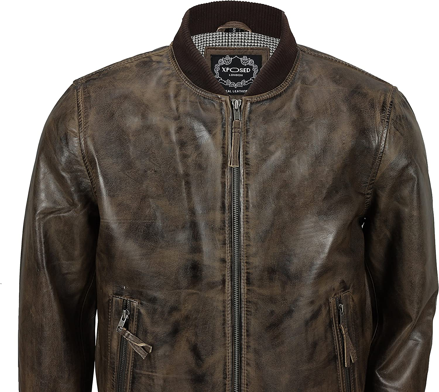 Mens Retro Brown Hooded Fur Real Leather Bomber Jacket