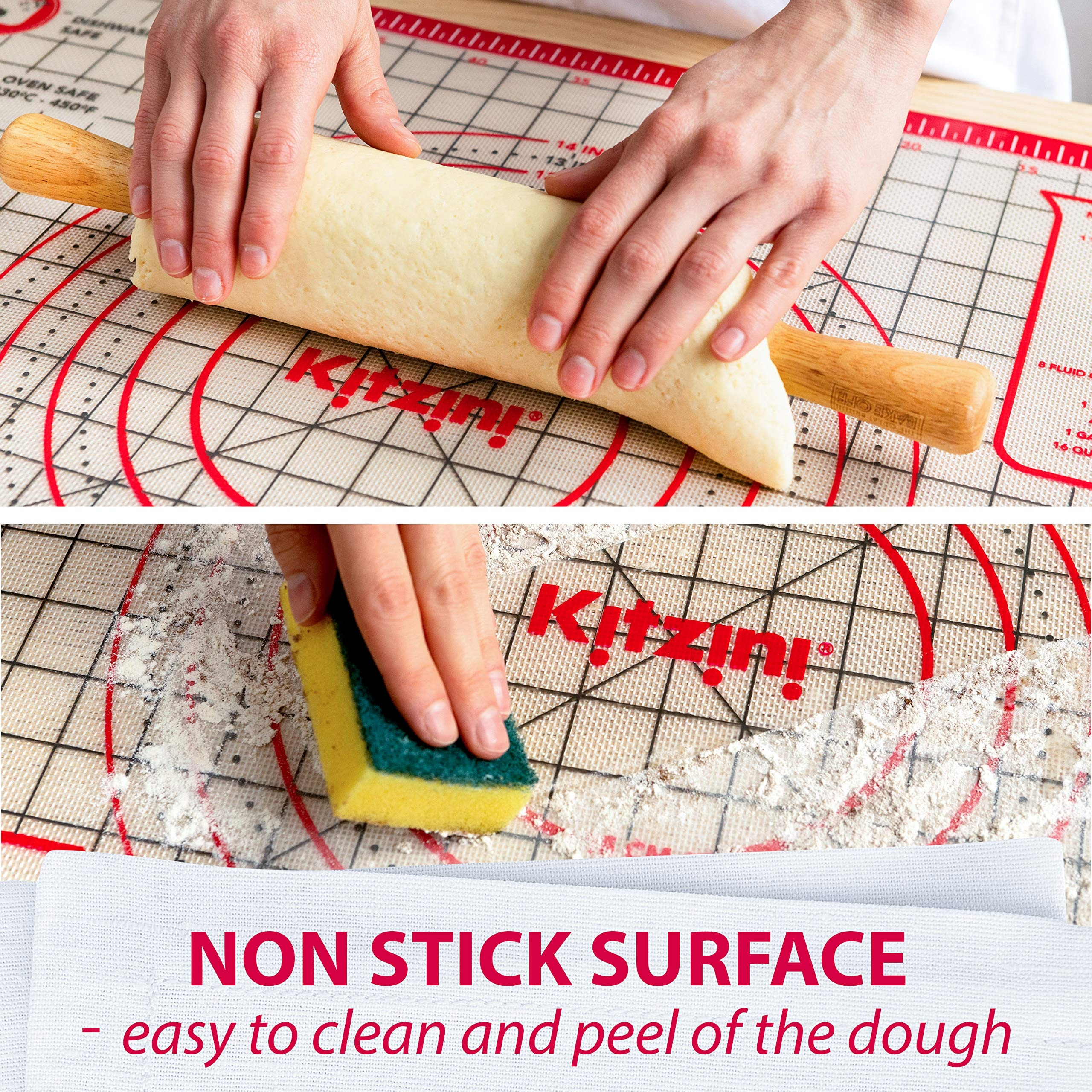 Pastry Mat Silicone Non Slip - Extra Large Thick Non Stick Silicone Baking Mat For Rolling Dough Pie Crust Fondant Pizza and Cookies - Heavy Duty Easy Clean Kneading Mat With Measurements - 20'' x 28'' by Kitzini (Image #1)