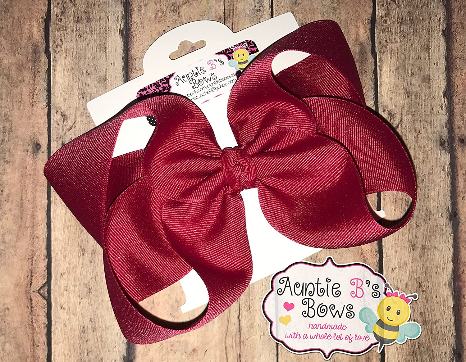 Solid Jumbo Cranberry (Crimson) Boutique Hair Bow 6