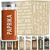 Talented Kitchen 134 Spice Jar Labels Preprinted: 134 White All Caps Spice Names + Numbers. White Letters on Clear Sticker. W