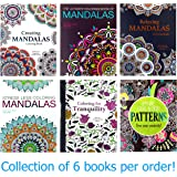 Adult Coloring Book Set: 6 Book Set - 4 Mandalas Books Plus Pattens and Tranquility - Quality THICK Easy TEAR-OUT Pages!