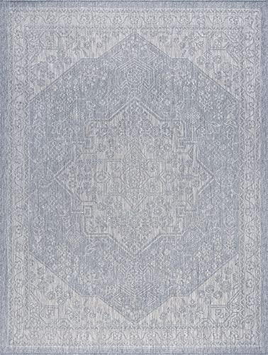 Tayse Vaux Gray Outdoor 9×12 Rectangle Area Rug for Living, Bedroom, or Dining Room – Medallion