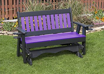 Superb 4Ft Bright Purple Poly Lumber Mission Porch Glider With Cupholder Arms Heavy Duty Everlasting Polytuf Hdpe Made In Usa Amish Crafted Ncnpc Chair Design For Home Ncnpcorg