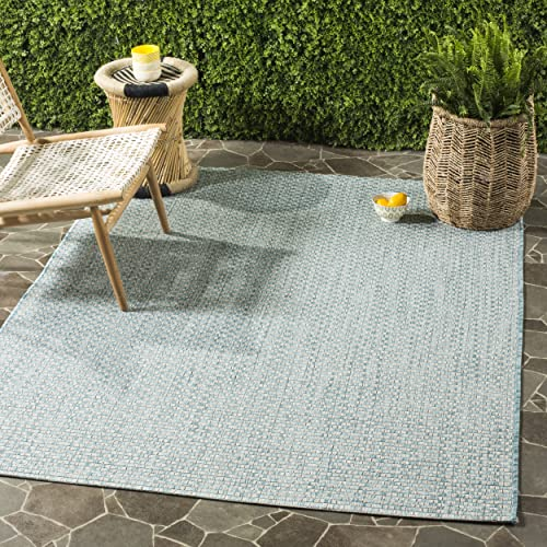 Safavieh Courtyard Collection CY8653-37121 Indoor Outdoor Area Rug, 9 x 12 , Light Blue Light Grey