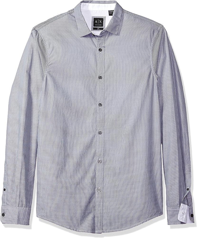 e16fde10 Amazon.com: A|X Armani Exchange Men's Poplin Long Sleeve Button Up ...