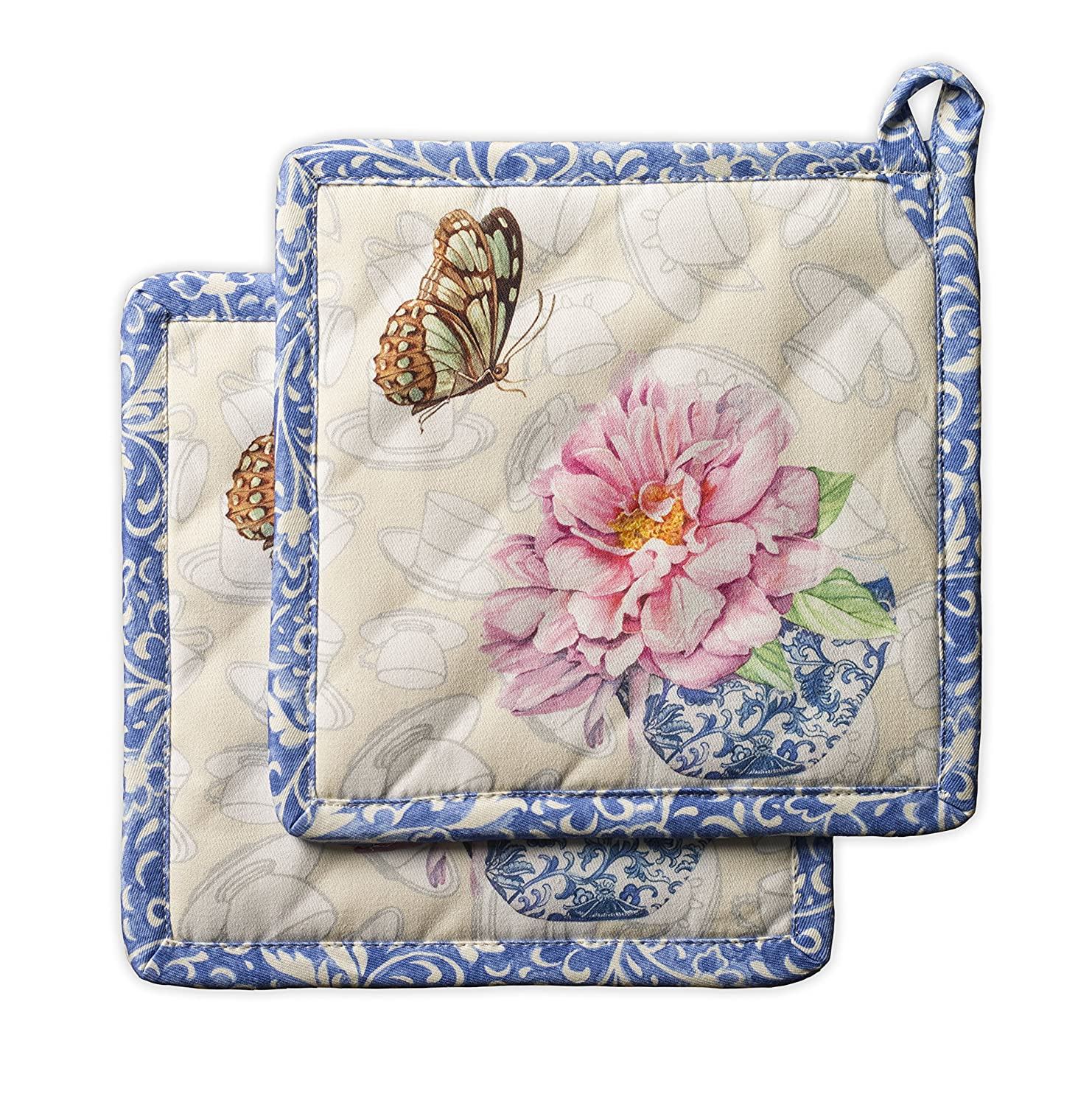 Maison d' Hermine Canton 100% Cotton Set of 2 Pot Holders 8 Inch by 8 Inch Aspero