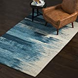Amazon Brand – Rivet Modern Abstract Area Rug, 5 x 8 Foot, Blue, White