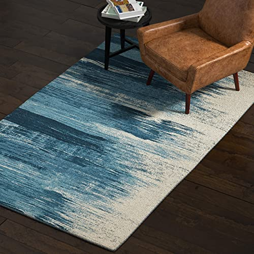 Rivet Modern Abstract Area Rug, 5 x 8 Foot, Blue, White