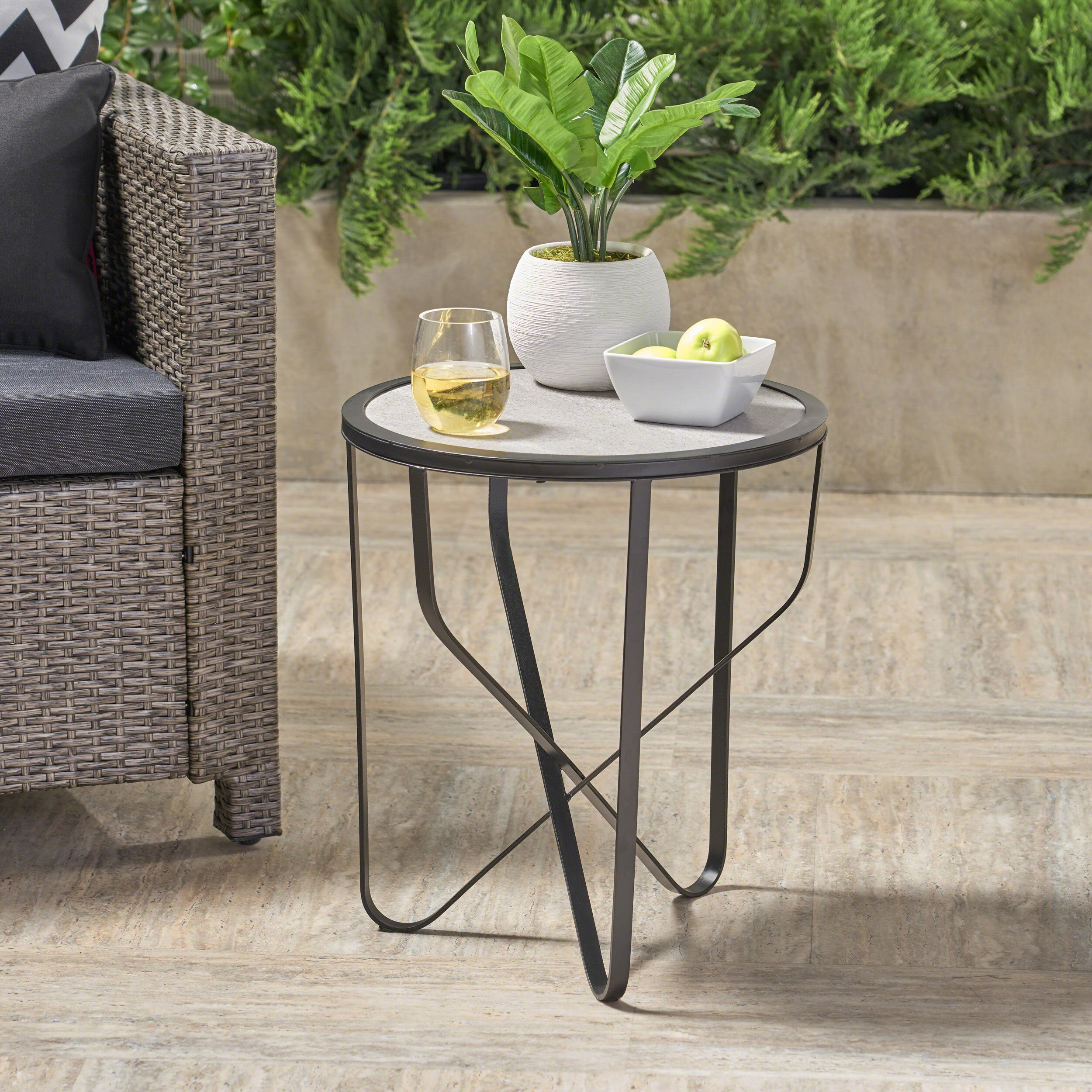 Great Deal Furniture Noah Outdoor 18 Inch Light Grey Finish Ceramic Tile Side Table