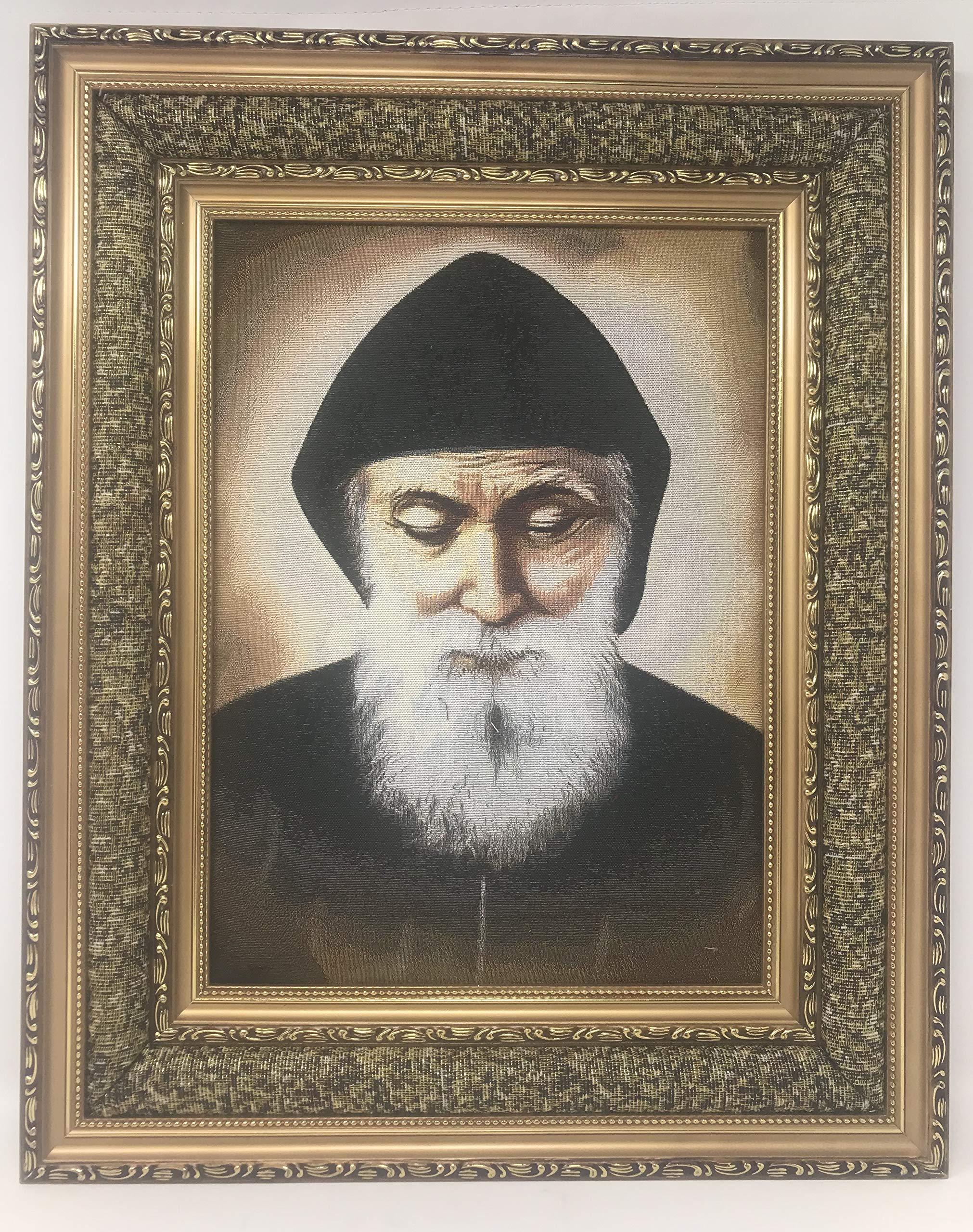 17''x21'' San Charbel Imagen en Tela Acojinada, Cushioned Frame Saint Charbel Makhluf