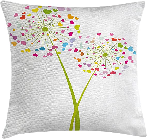 Ambesonne Floral Throw Pillow Cushion Cover Spring Dandelion Flower With Heart Shaped Colorful Petals Romance Valentines Design Decorative Square Accent Pillow Case 16 X 16 Lime Green Home Kitchen Amazon Com