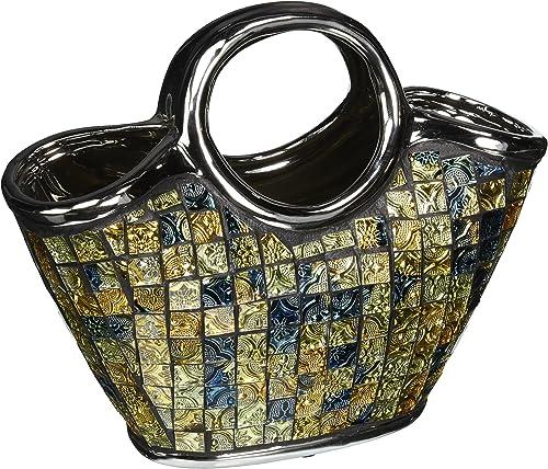 Decorative Ceramic Glass Purse Floral Vases, 10 3 4 x 5 1 4 x 9.5 H DMCV003