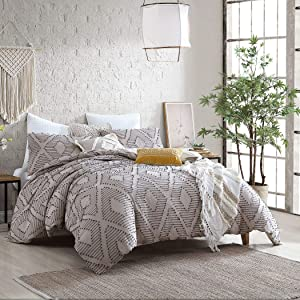 Puyuma Washed Cotton Clip Jacquard Gauze 5-Piece Comforter Set, Oeko-Tex Certified, Ultra Soft and Breathable, All Season – Taupe, Full/Queen (88