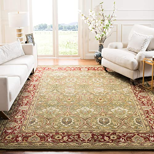 Safavieh Persian Legend Collection PL819B Handmade Traditional Light Green and Rust Wool Area Rug 5' x 8'