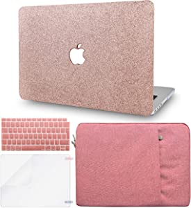 "KECC Laptop Case for MacBook Air 13"" Retina (2020/2019/2018, Touch ID) w/Keyboard Cover + Sleeve + Screen Protector (4 in 1 Bundle) Plastic Hard Shell Case A1932 (Rose Gold Sparkling)"